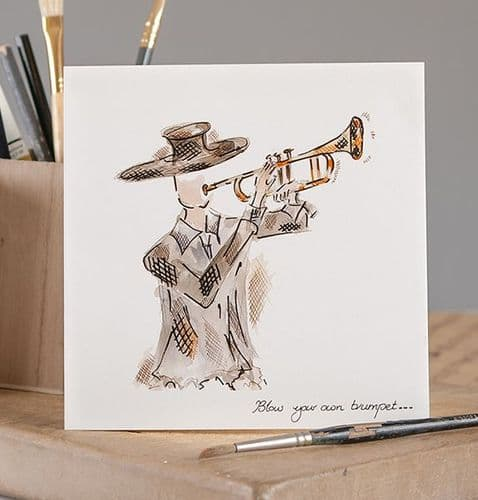 Blow Your Own Trumpet Greetings Card by Claire Louise