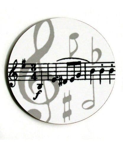 Coasters - Grey Music Notes Mugmats by MGC