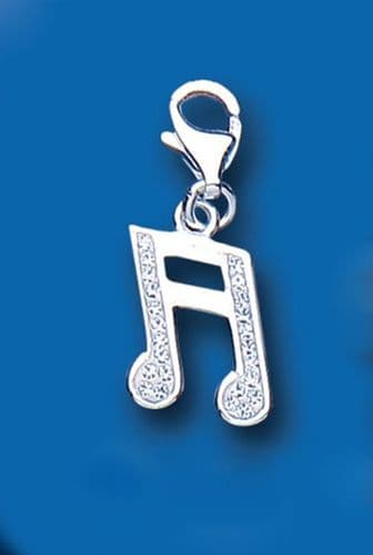 Crystal Semiquaver Note Sterling Silver Charm