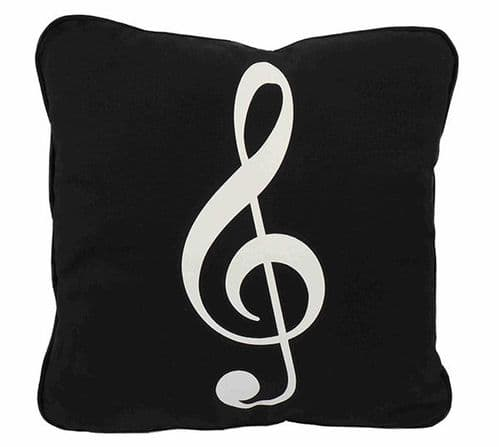 Cushion Cover - Treble Clef on Black by AGR