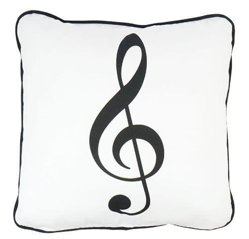 Cushion Cover - Treble Clef on White by AGR