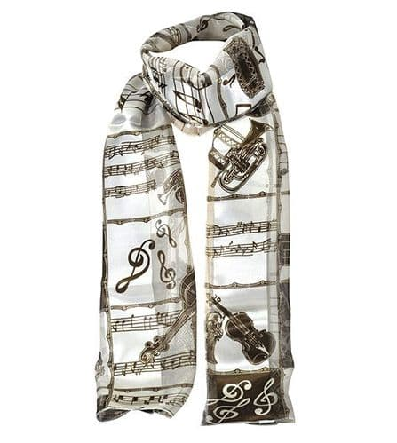 Dark Brown and Beige Instrumental Scarf by Tie Studio