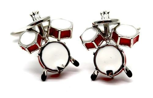 Drum Kit in Red Cufflinks by Tie Studio
