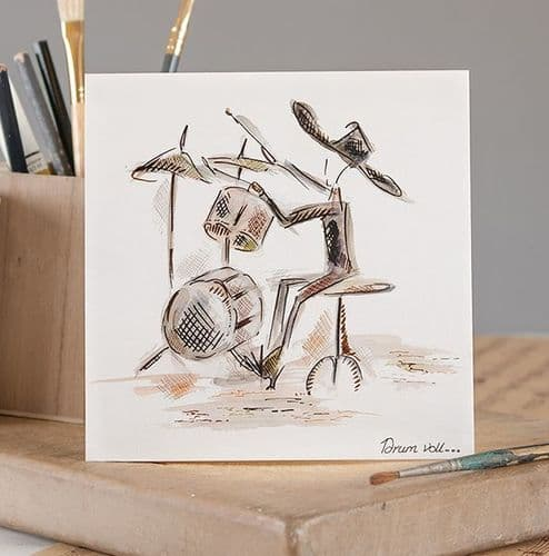 Drum Roll Greetings Card by Claire Louise