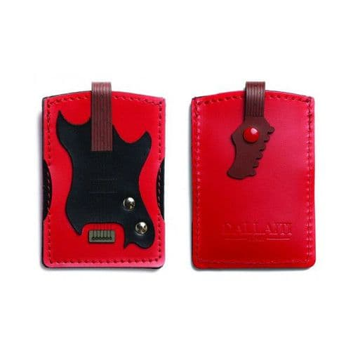 Electric Guitar Credit Card Holder in Italian Leather