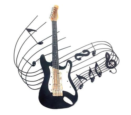 Electric Guitar Swirl Metal Wall Art by SKStyle