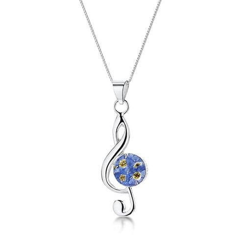 Forget-me-not Flower Treble Clef Necklace by Shrieking Violet