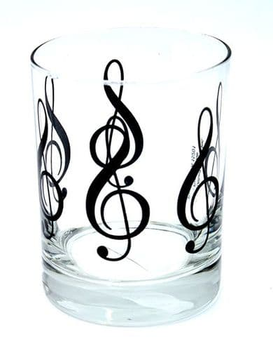 Treble Clef Glass Tumbler - Music Glassware Gift | musical gifts online