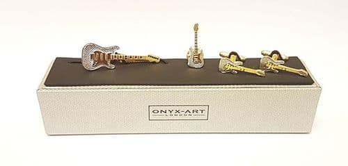 Guitar Cufflinks, Tie Pin & Lapel Gift Set by Onyx Art