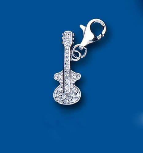 Guitar CZ Sterling Silver Charm