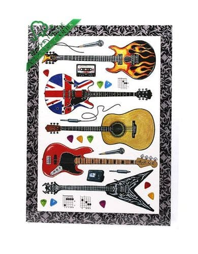 Guitar Greetings Card by Clanna