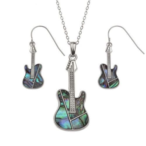 Guitar Paua Necklace & Earrings by Tide Jewellery