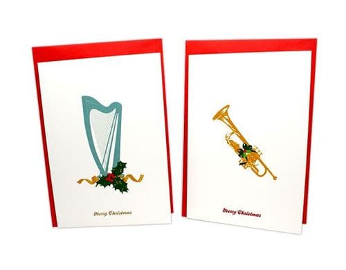 Harps & Trumpets Christmas Card 6 pack by MS