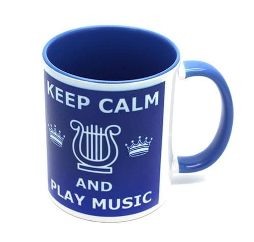 Keep Calm and Play Music Blue Mug