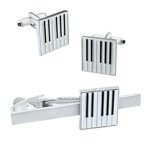 Keyboard Tie Bar & Cufflinks Set  by Onyx Art