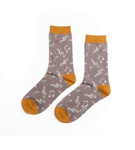 Ladies Grey Bamboo Music Socks by Miss Sparrow