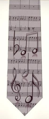 Large Clefs & Notes on Grey Tie by Tie Studio