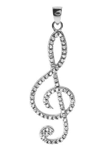 Large Sterling Silver Treble Clef Necklace with CZ by KMD