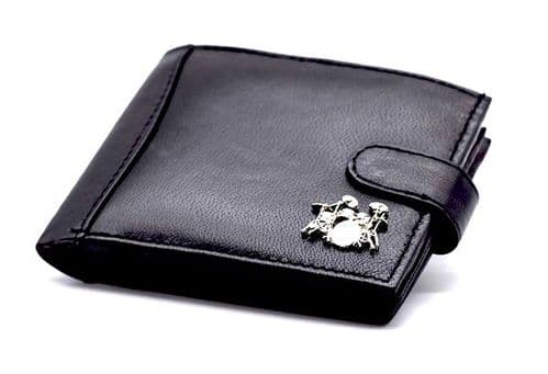 Leather Wallet with Drum Kit Motif by Gifticuffs
