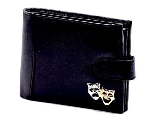 Leather Wallet with Theatre Mask Motif by Gifticuffs