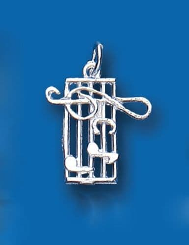 Music Stave Sterling Silver Charm