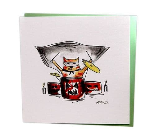 Musical Cat at Drum Kit by Col Cards