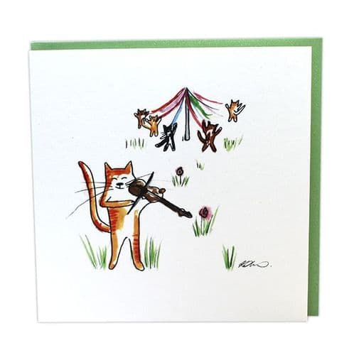 Musical Cats Fiddle & May-Pole by Col Cards