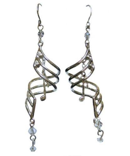 Musical Drop Note Silver-Plated Earrings by MGC.