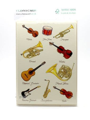 Musical Instrument Cards 6 Pack by Clanna