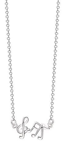 """Musical Note 16"""" Necklace in Sterling Silver"""
