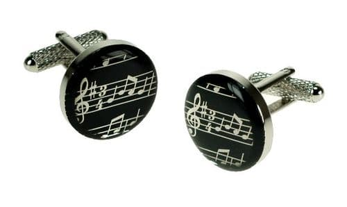 Musical Notes Cufflinks in Black by Onyx Art