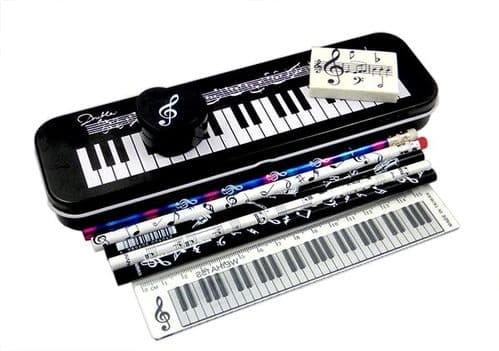 Musical Symbols Tin Pencil Case Stationery Set