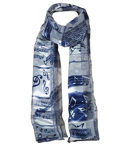 Navy and Pale Blue Instrumental Scarf by Tie Studio
