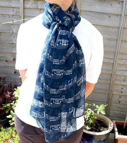 Navy Blue Scarf with White Music Design by PF