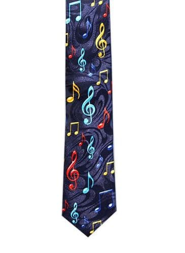 Navy Tie with Colourful Treble Clefs & Notes by Tie Studio