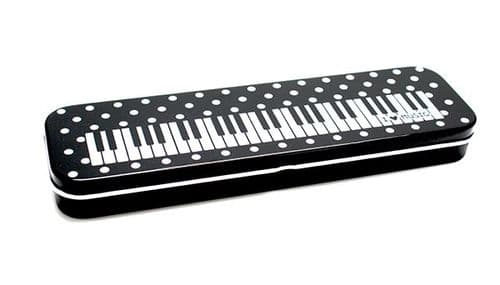 Pencil Case -Tin- Keyboard & Dots Design