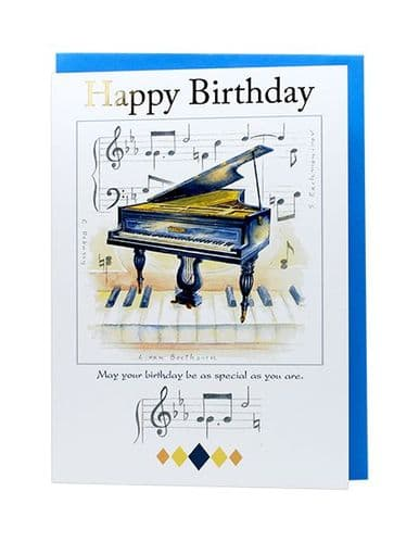 Piano Birthday Card by Little Snoring