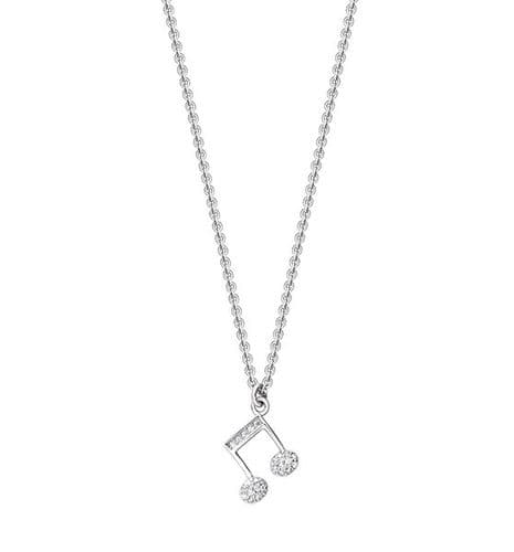 Quaver Necklace in Rhodium Silver with CZ Decoration