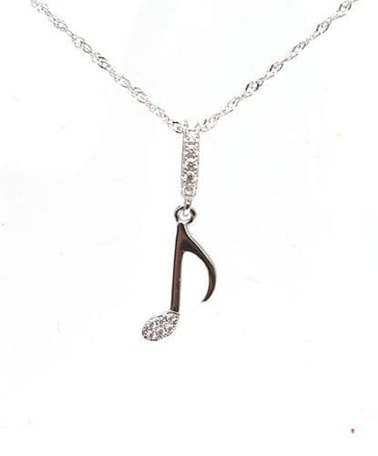 Quaver Note Pendant in Sterling Silver with Crystals