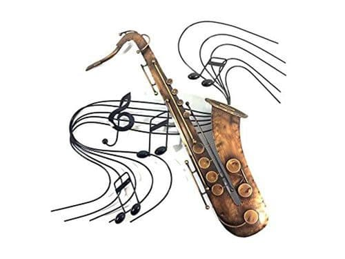 Saxophone Metal Wall Art with Music by SK