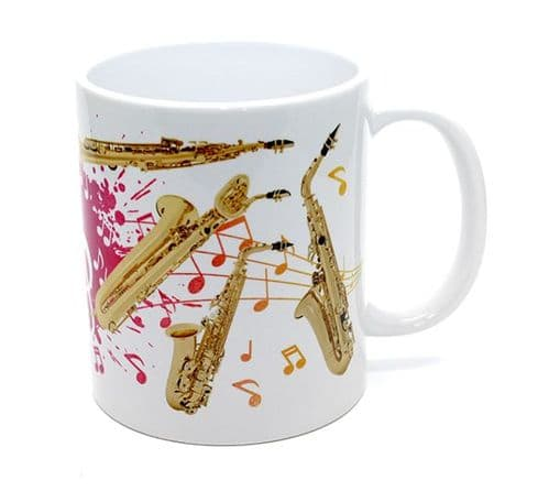 Saxophone Mug with Coloured Design