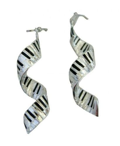 Spiral Keyboard Earrings Silver-Plated by MGC