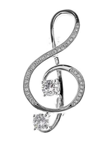 Sterling Silver Treble Clef Brooch with Cubic Zirconia by KMD