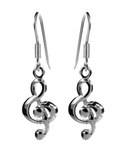 Sterling Silver Treble Clef Earrings by KMD