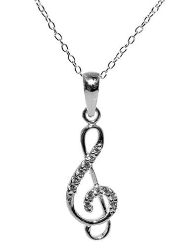 Sterling Silver Treble Clef Necklace with Cubic Zirconia Crystals | musical gifts online