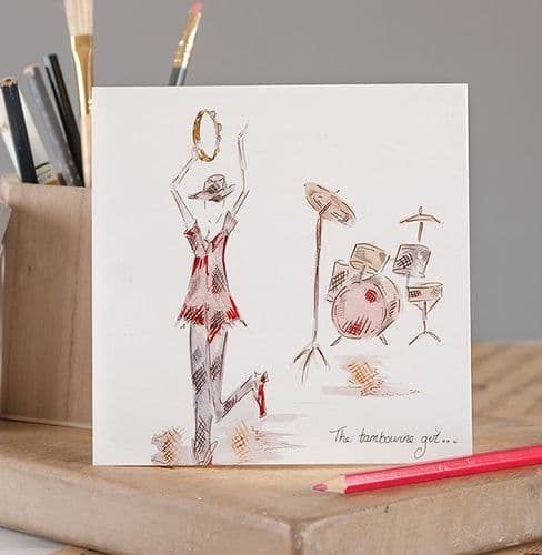 The Tambourine Girl Greetings Card by Claire Louise