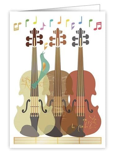 Three Violins Greetings Card by Quire