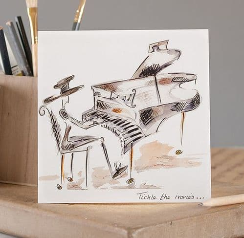 Tickle the Ivories Greetings Card by Claire Louise