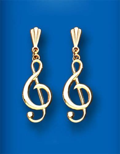 Treble Clef 9ct Gold Earrings