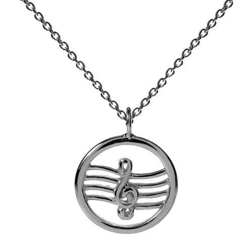 Treble Clef Circled Necklace by KMD